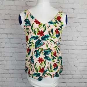 Topshop|Tropical Print Tank Top Strappy Back